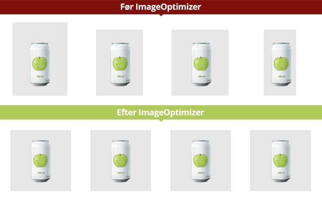 Eksempel på billeder før og efter ImageOptimizer