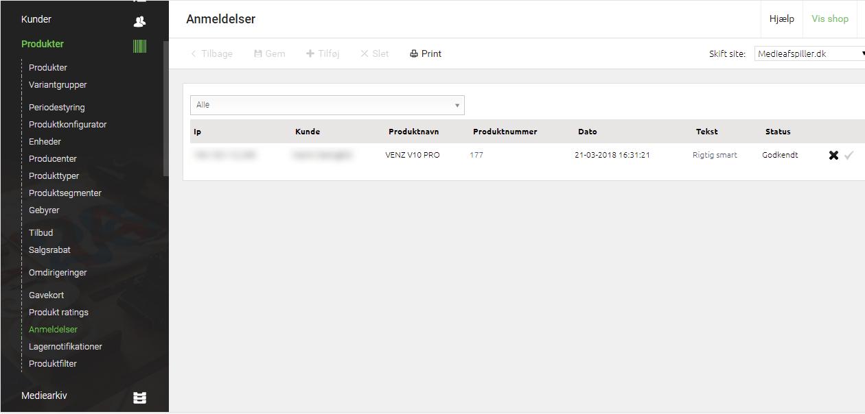 Screenshot af DanDomains Webshop Classic Administration - Anmeldelser