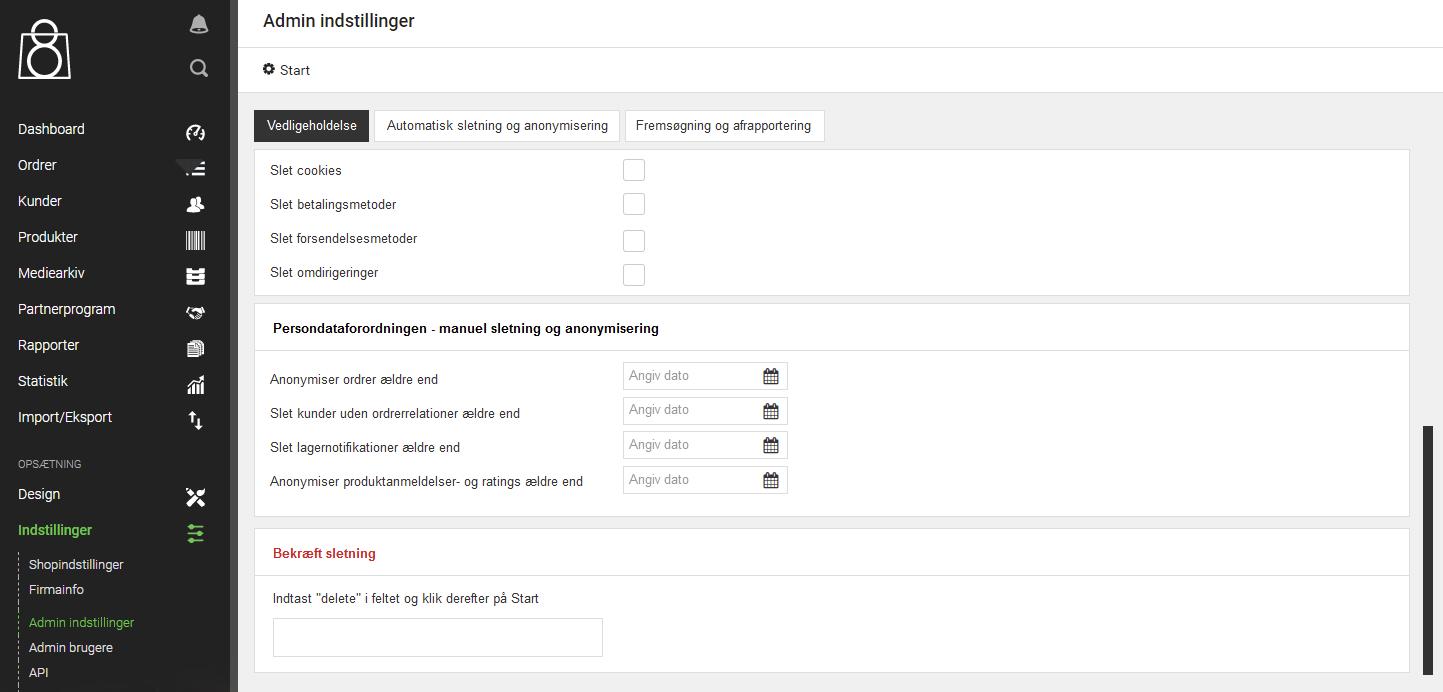 Screenshot af DanDomains Webshop Classic Administration - GDPR-indstillinger