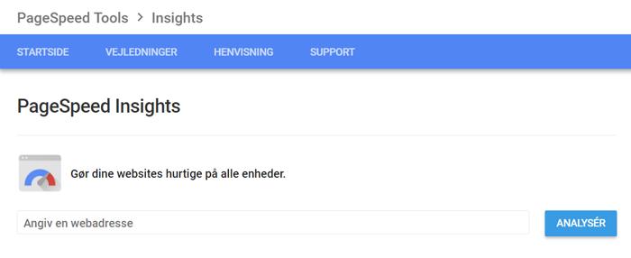 Googles værktøj PageSpeed Insights