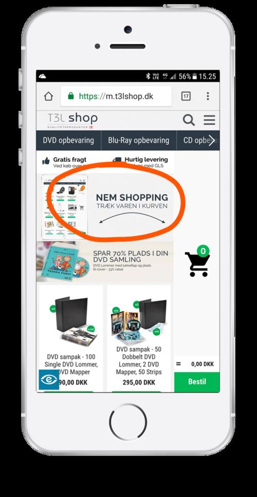 Eksempel på animation, der viser, hvordan man foretager et køb med Swipe & Buy på mobilen på en webshop